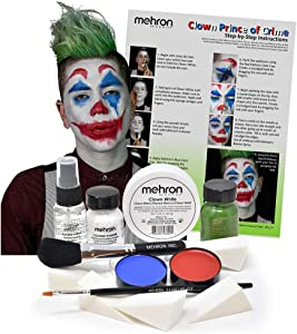 Mehron Clown Costume Makeup Kit – 8 Piece All in One Halloween Cosmetics with Joker Face Paint - Step-by-Step Instructions