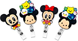 Finex 4 Pcs Set Mickey Mouse and Minnie Mouse Winnie The Pooh Badge ID Clip Reel Retractable Holder Office Work Nurse Name Badge Tag Clip On Card Holders Cute - 30 inch Cord Extension