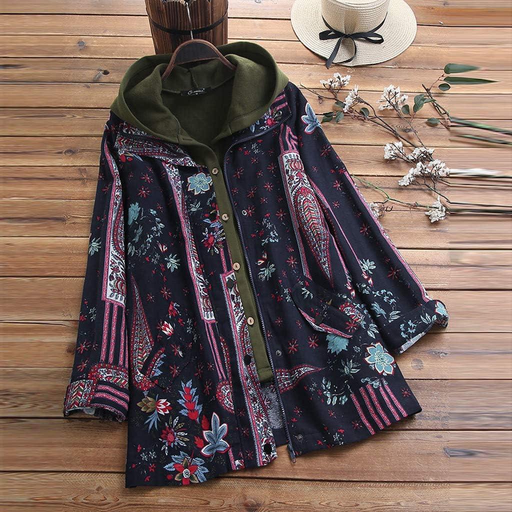 Moonuy Womens Outwear Autumn Winter Vintage Print Two Pieces Plus Size Coat Warm Coat Jacket Overcoat Coat Outwear Cardigan Jacket Cardigan Button Coat
