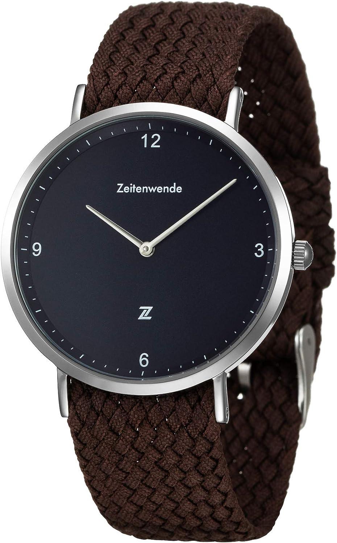 Zeitenwende Men s Analog Quartz Watch Braided Perlon Band Super Lightweight Wrist Watch Swiss Ronda 762 Movement Adjustable Perlon Band Minimalist Slim Design Three Colors