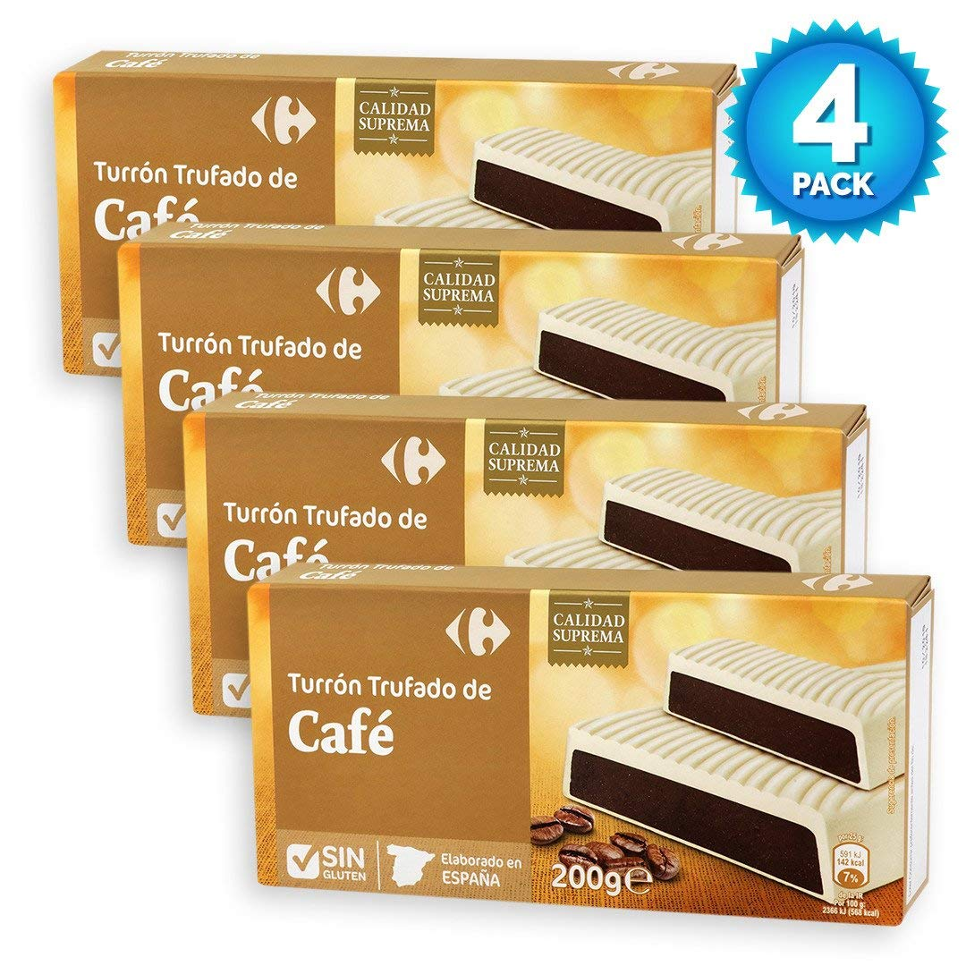 Amazon.com : 4 Pack Carrefour Chocolate-Coated Spanish Nougat with Coffee 200g - Made In Spain - Supreme Quality - Chocolate & Coffee Nougat - Gluten-Free ...