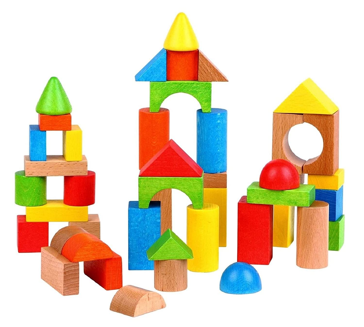Amazon Lelin Wooden Colourful Building Construction Shape