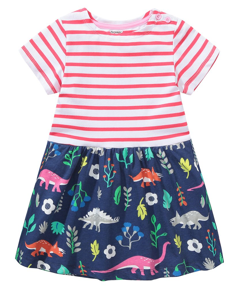 Fiream Girls Dresses,Short Sleeve Summer Cotton Striped Cute Print Pattern Casual Dress for Toddler(154Red,2T/2-3YRS)