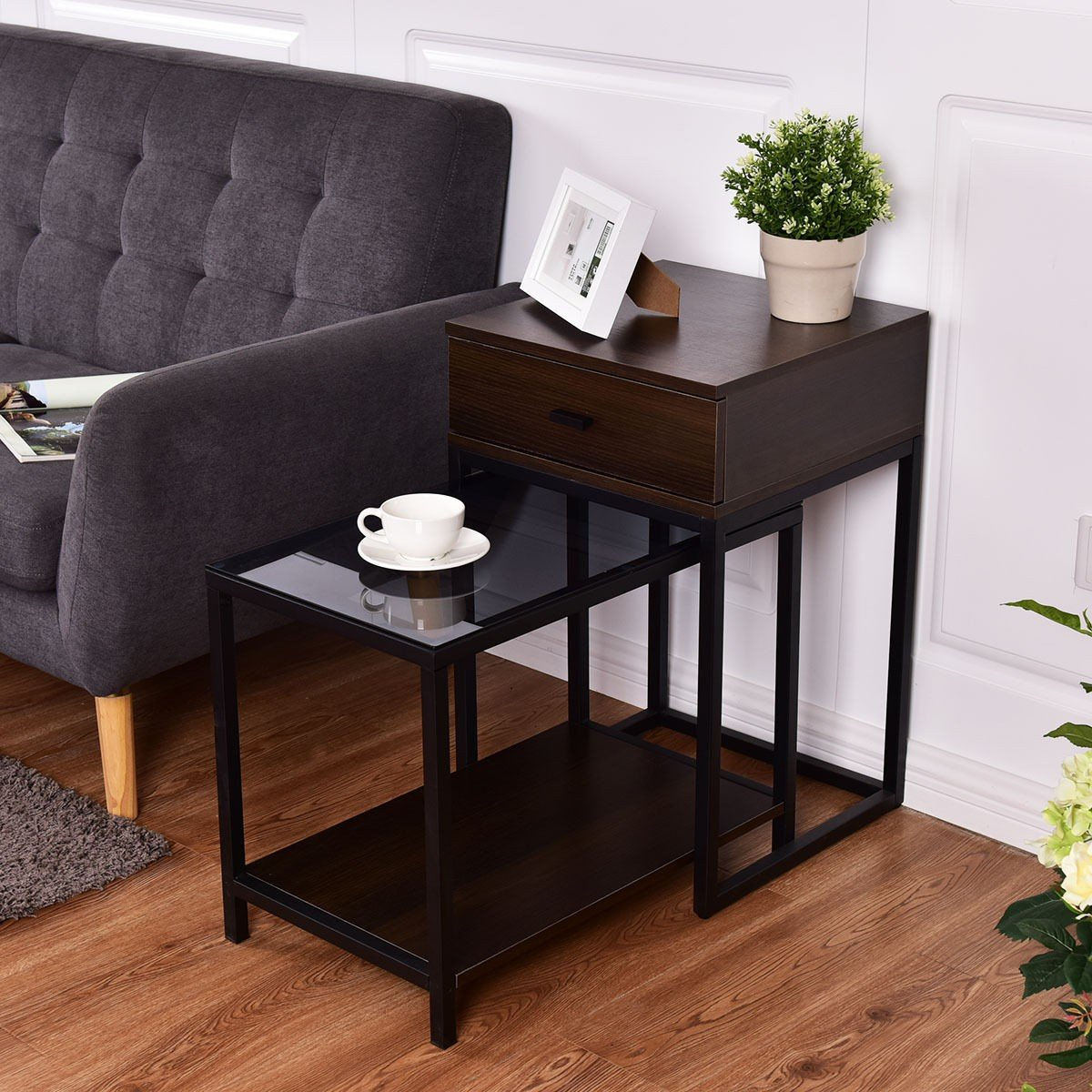2 pcs Metal Frame Wood Glass Top Nesting Side Table - by Choice Products by choice