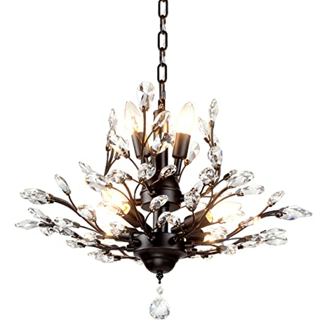 SEOL-LIGHT Vintage Crystal Branch Chandeliers Black Ceiling Pendant Light Flush Mounted Fixture With 7 Light,Max280W For Living Room Dinning Table ...