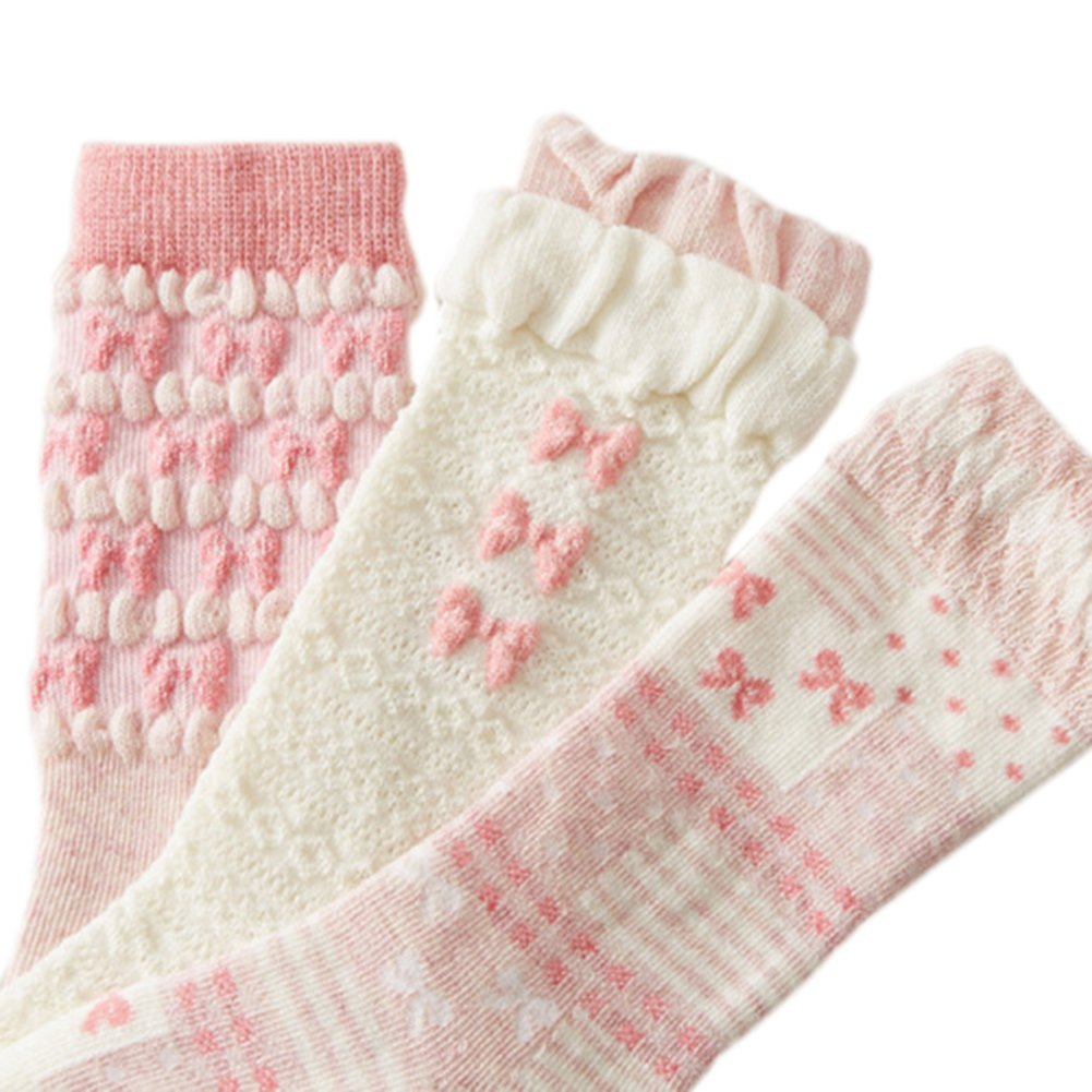 Taiycyxgan Baby Girls Cotton Socks 3-Pack Newborn Antislip Socks Stockings 0-3T