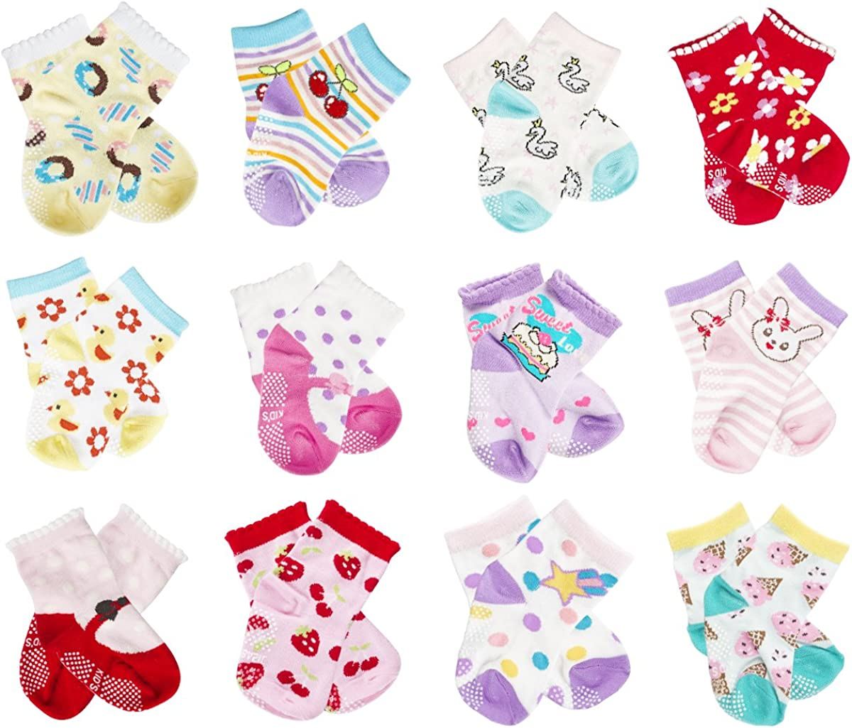 Unisex Baby Socks, Baby Girl Socks, Baby Boy socks, CIEHER 12 Pairs Non-Skid Cotton Socks with Grip Baby Socks, 12 Colors (Style 2)