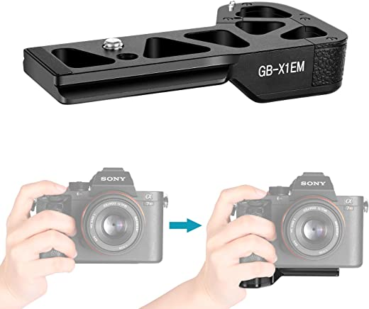 Neewer Metal Bracket Hand Bracket Grip, 1/4 Inch Screw, Compatible with Sony A9 A7MIII a7RII a7RIII a7II a7SII Mirrorless Cameras, Arca Swiss Compatible