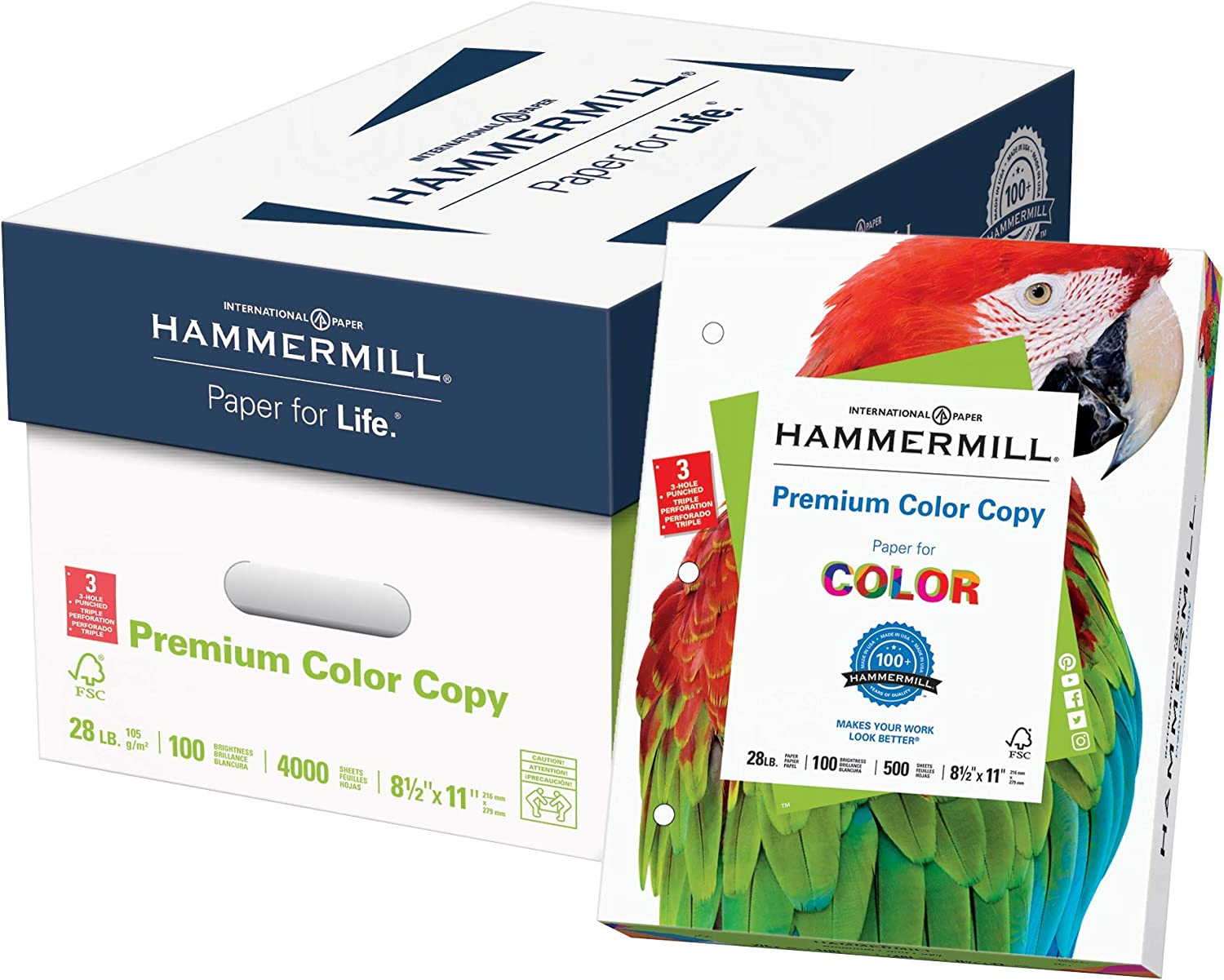 Hammermill Premium Color Copy 28 lb Paper 8.5 x 11 3 Hole Punch 8 Ream Case 4,000 Sheets Made in USA 100 Bright, Acid Free 102500C