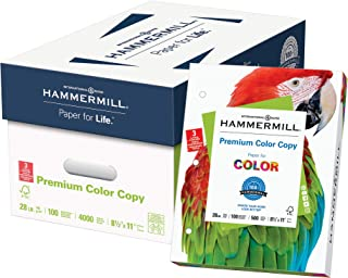 product image for Hammermill Printer Paper, Premium Color 28 lb Copy Paper, 3 Hole - 8 Ream (4,000 Sheets) - 100 Bright, Made in the USA