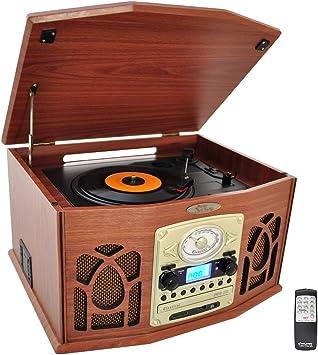 Pyle PTCDS7UIW Tocadiscos retro con CD/MP3/Casette/Radio/USB/SD ...