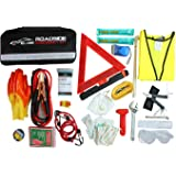WELL-STRONG Roadside 66 Pcs Multipurpose Emergency Car First Aid Kit Auto Assistance Contains Jumper Cables, Tow Rope, Bandage, Safety Vest, etc, All Ultimate Supplies in One Pack