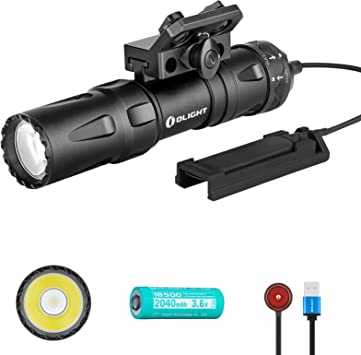 Olight Odin Mini 1250 Lumens Magnetic Rechargeable M-LOK Mount 18500 Tactical Flashlight with Quick Release Mount and Remote Switch, SKYBEN Battery Case Included (Black)