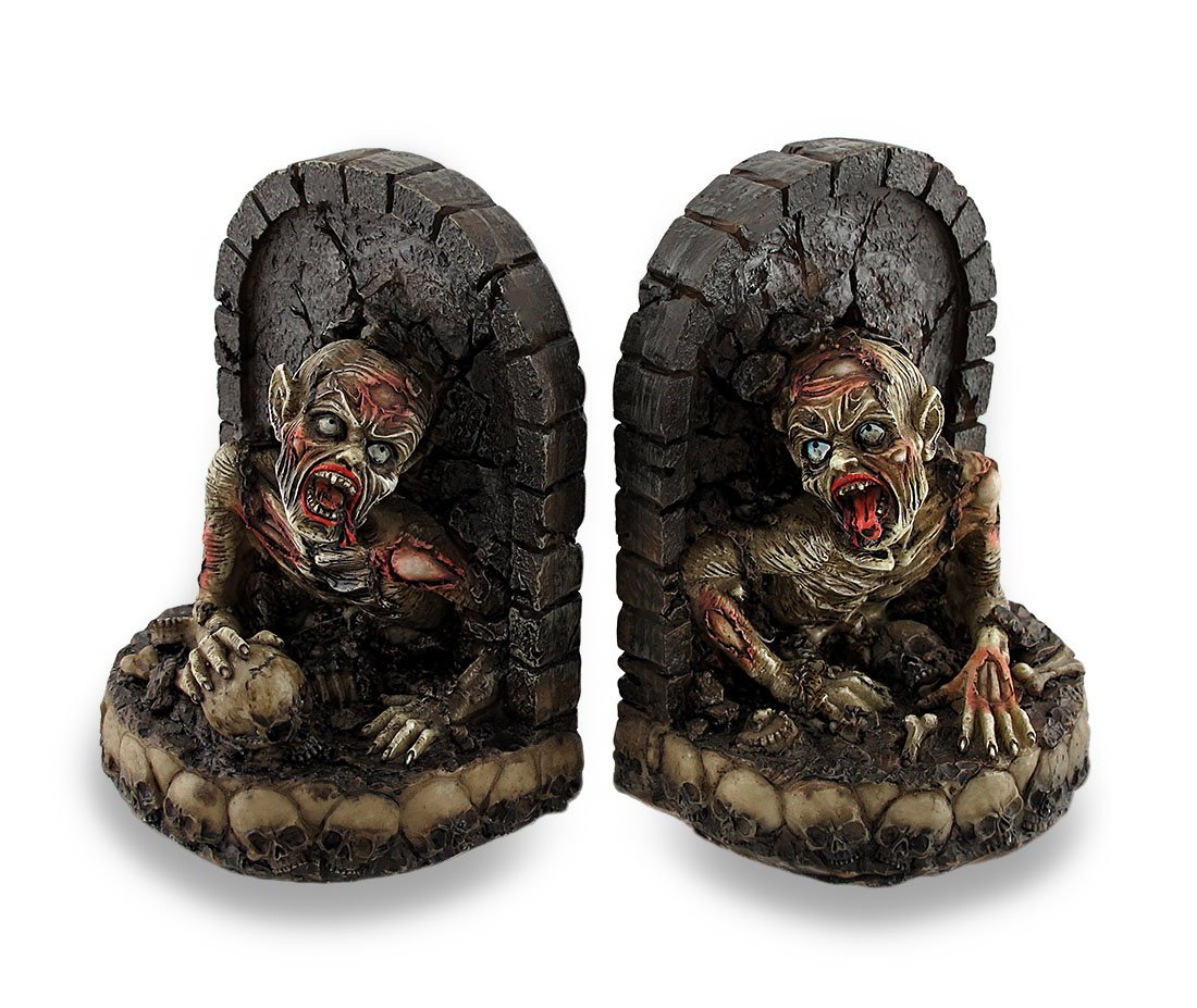 Zombie Breaking Out of Grave Bookend Set of 2 Zeckos