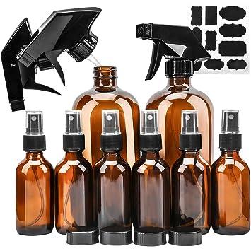 5031ffe3c7c2 Glass Spray Bottle, KAMOTA Amber Glass Spray Bottles Set (2 Pack 16 OZ & 6  Pack 2 OZ) Refillable...