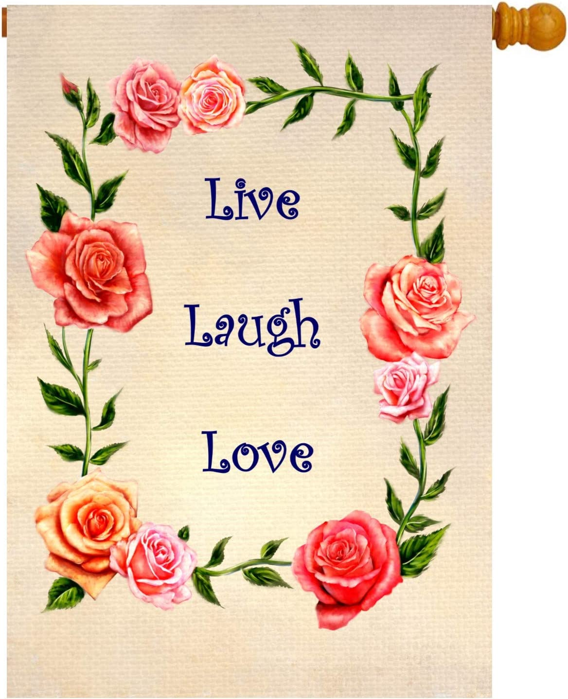 Spring outdoor flag live laugh love. 28 x 40 rose flower decoration for house and yard. Double sided decorative seasonal floral banner perfect for home, garden, Valentine's day and summer holiday.