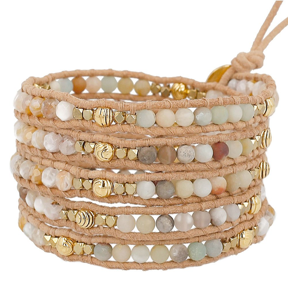 Chan Luu Multi Amazonite Mix Wrap Bracelet on Natural Beige Leather