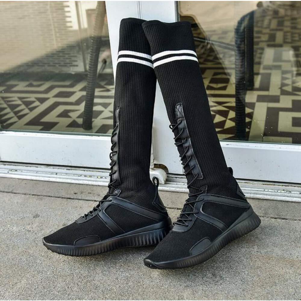 PINGXIANNV Fashion High Help Femme Bottes Femmes sur Le Bottes Genou Bottes Étudiant Loisirs Bottes Le Stretch À Lacets Femmes Chaussures 4|Noir 1d5c93