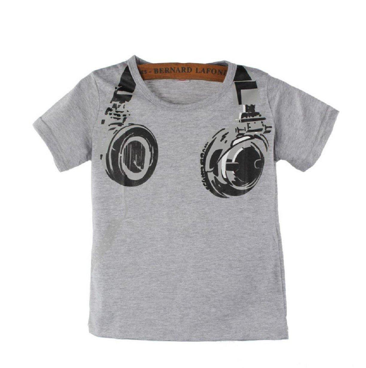 Vovotrade Boy Kids Summer Headphone Short Sleeve Tops Blouses T Shirt Tees Clothes