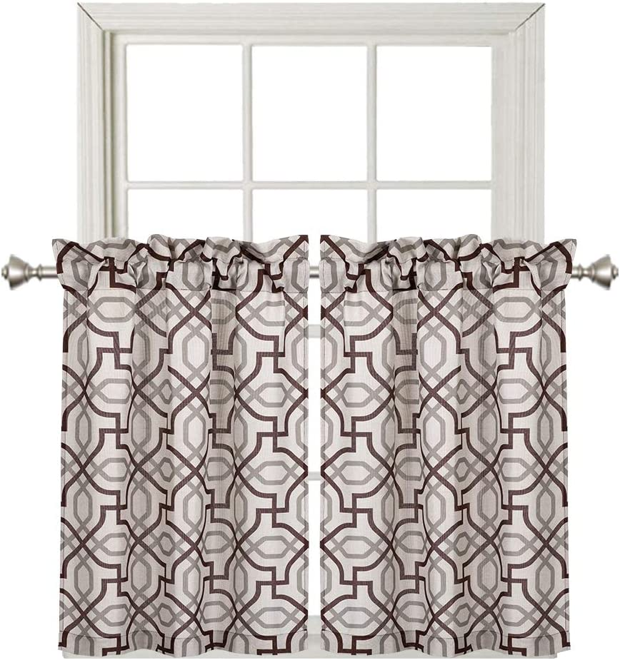 Home Queen Rod Pocket Print Tier Curtains for Small Window, Window Treatment for Living Room, Kitchen Curtains, Café Drapes, 2 Panels, 29 W X 36 L Inch Each, Brown