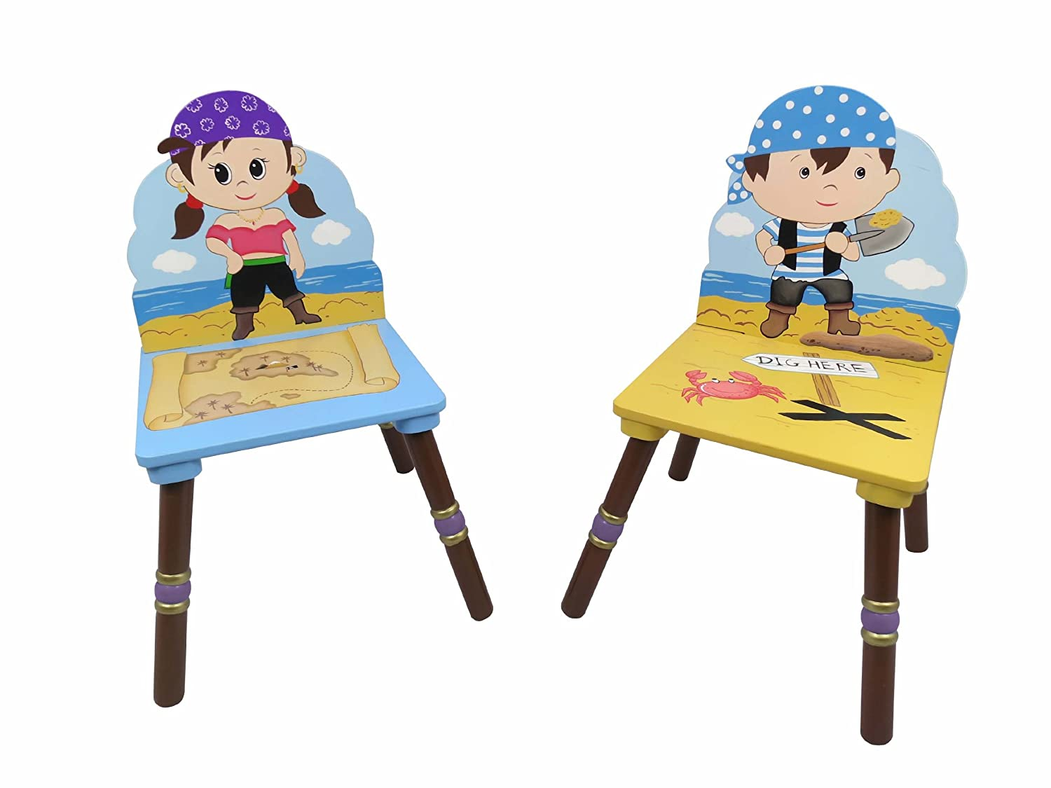 Fantasy Fields - Pirate Island themed Kids Wooden 2 Chairs Set Blue & Purple (Table Sold Seperately)|Hand Crafted & Hand Painted Details | Child Friendly Water-based Paint Fantasy Fields By Teamson FLDTD-11593A3