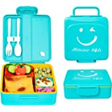 MINCOCO Kids Bento Lunch Box - Lunch Container with Sauce Jar, Spoon&Fork 4-Compartment, On-the-Go Meal and Snack Packing - L