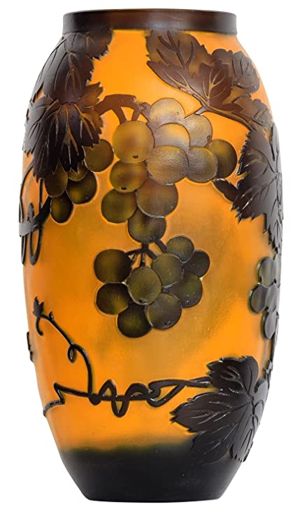 Vase Replica After Galle Gall Glass Vase Antique Style Copy 24cm