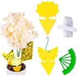HOME-MART 12 Pack Sticky Fly Trap Yellow Dual-Sided Gnat Trap Butterfly Flower Rectangle Glue Trapper Sticky Bug Trap…