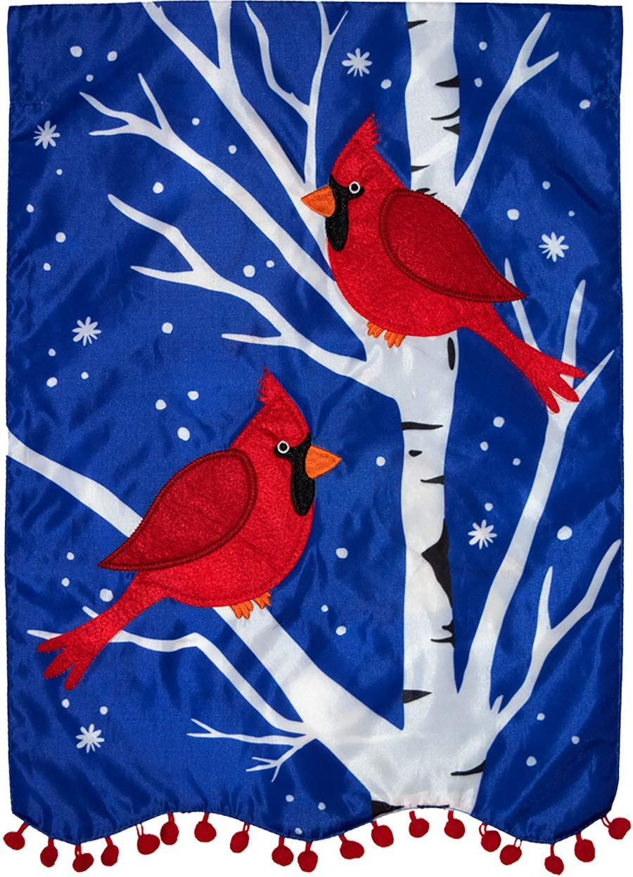 Briarwood Lane Winter Cardinals Applique Garden Flag Double Sided 12.5
