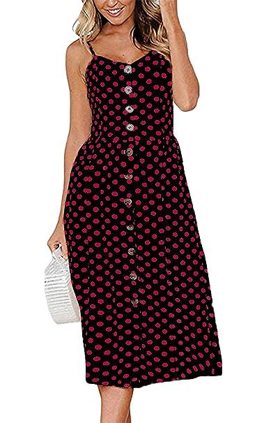 reputable site 2c975 0c319 Angashion Damen V Ausschnitt Spaghetti Buegel Blumen Sommerkleid Elegant  Vintage Cocktailkleid Kleider