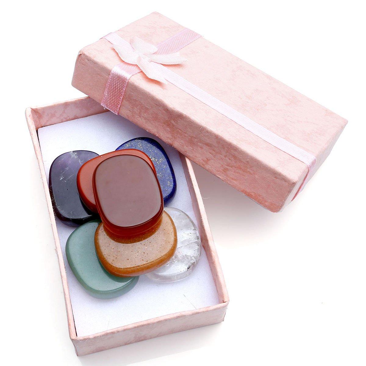 QGEM Healing Crystals Chakra Stones Reiki Palm Stone Decoration w/Box 7pcs Set