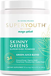 Super Youth Skinny Greens, Green Juice Superfood Powder, Mango Splash Flavor, Probiotic to Increase Energy & Focus, Optimize Digestion, Spirulina, Chlorella, 30 Servings
