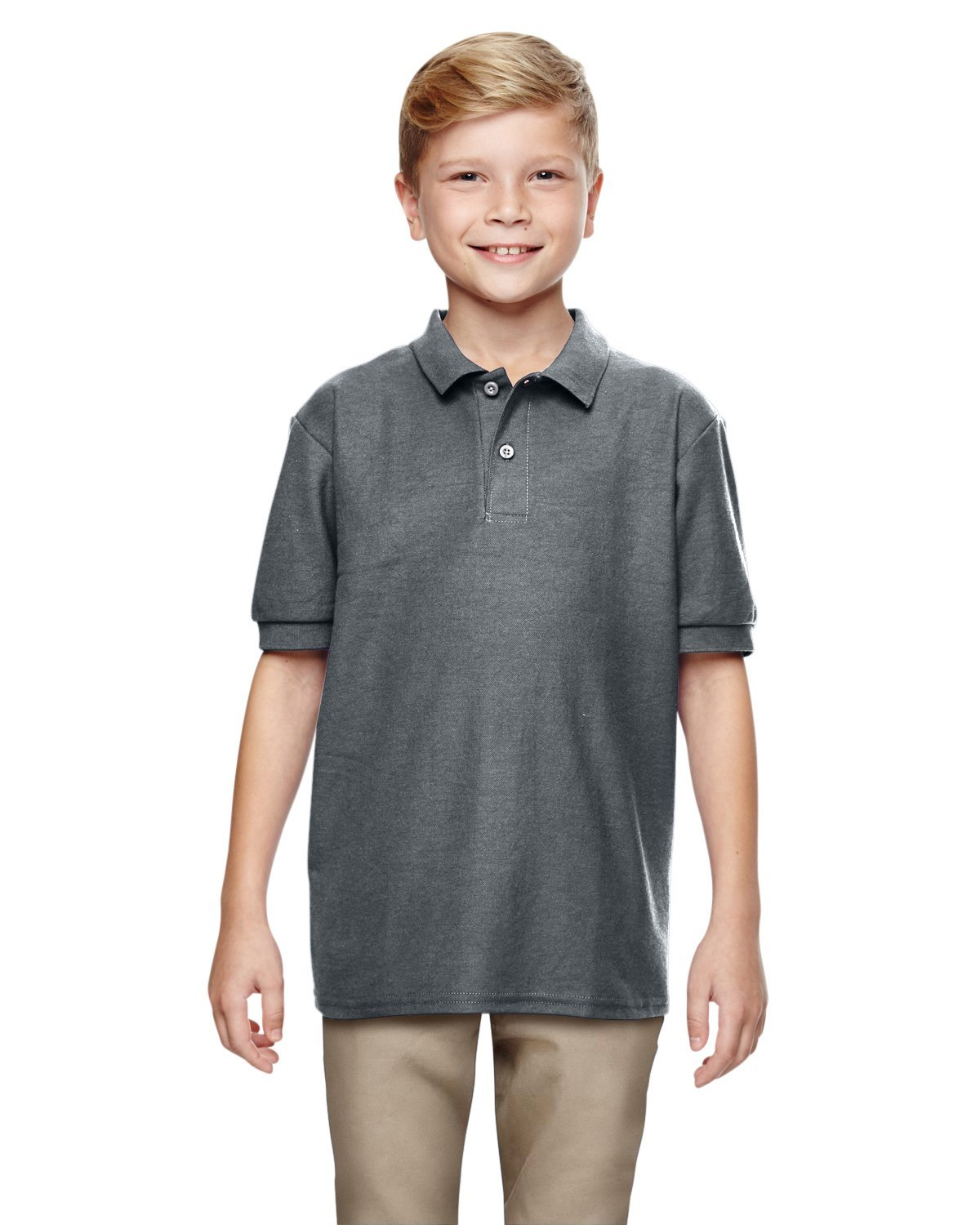 Gildan Boys DryBlend 6.3 oz. Double Piqué Sport Shirt (G728B) -Dark Heath -S-12PK by Gildan (Image #2)