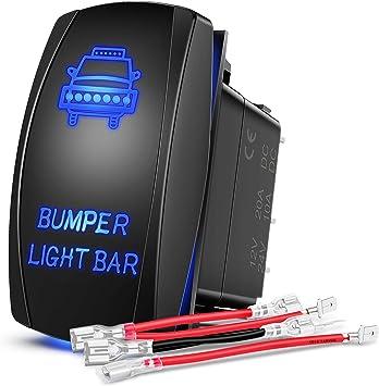 DaSen Blue LED Light Bumper Light Bar Toggle Switch Universal Backlit Rocker Switch ON-Off 5Pin 20A 12V Fit Most 4x4 Off-Road SUV ATV UTV Polaris Ranger RZR Motorsport Boat Marine Jeep Wrangler