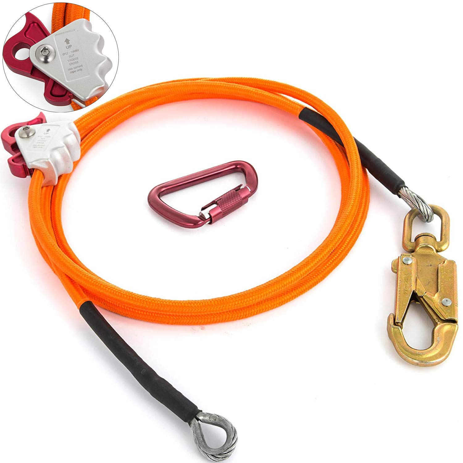 Happybuy Steel Wire Core Flip Line Kit 1/2'' X 8' Wire Core Flipline with Triple Lock Carabiner and Steel Swivel Snap Wire Core Flipline System for Arborists Climbers Tree Climbers (1/2'' X 8')