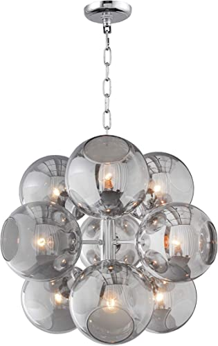22.5 Inch Wide Modern Sputnik Chandelier Nine Smoked Glass Globe Shade Ceiling Lamp Mid Century