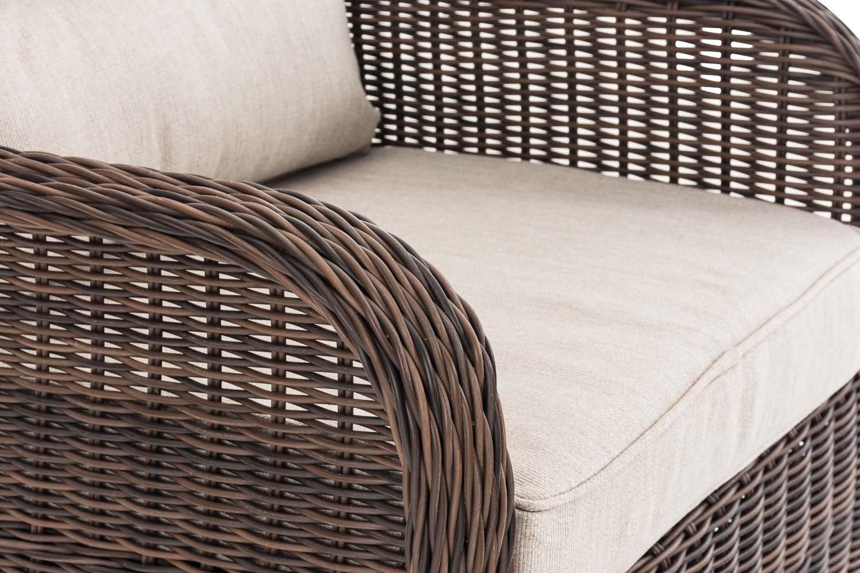 Polsterauflagen l Garten-Set CLP Polyrattan Sitzgruppe Treviso V2 inkl Zwei Hockern und EIN Beistelltisch l erh/ältlich Braun Meliert Zwei Sesseln