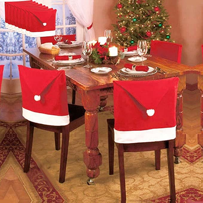 Amazon.com: 10pcs Santa Red Hat Chair Covers, Luca Christmas ...