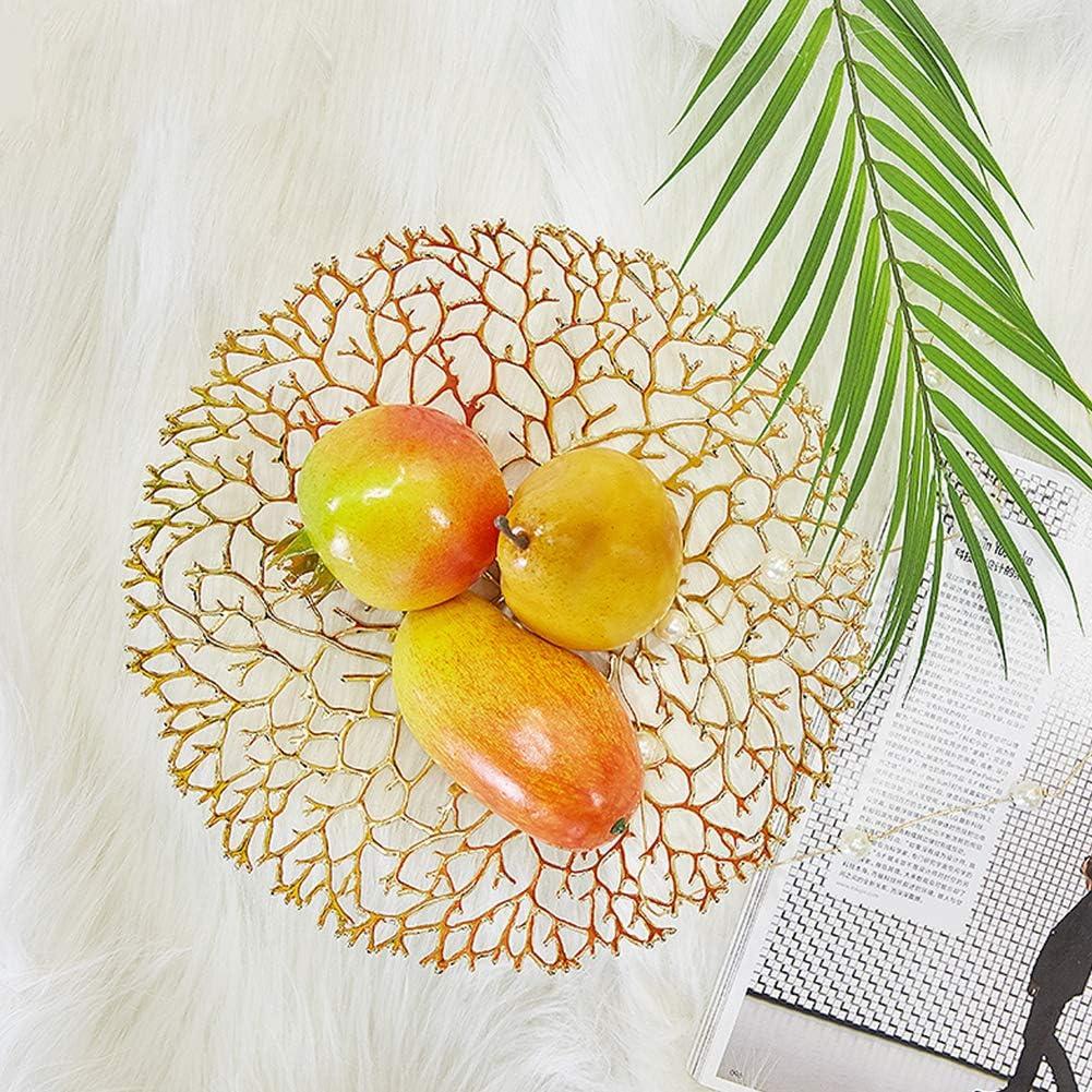yxxgp Corbeille Coupe /à Fruits sur Panier /à Fruit Compotier Fruits Basket Bonbons Snack Logement Plat D/Écoration Cr/éatif Le Corail Table De Th/é Cuivre-Grand