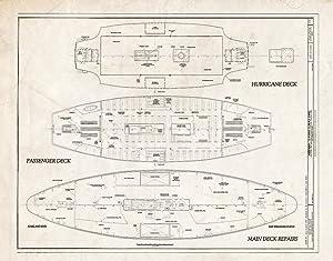 Historic Pictoric Blueprint Diagram Title Sheet - Ferry Eureka, Hyde Street Pier, San Francisco, San Francisco County, CA 14in x 11in