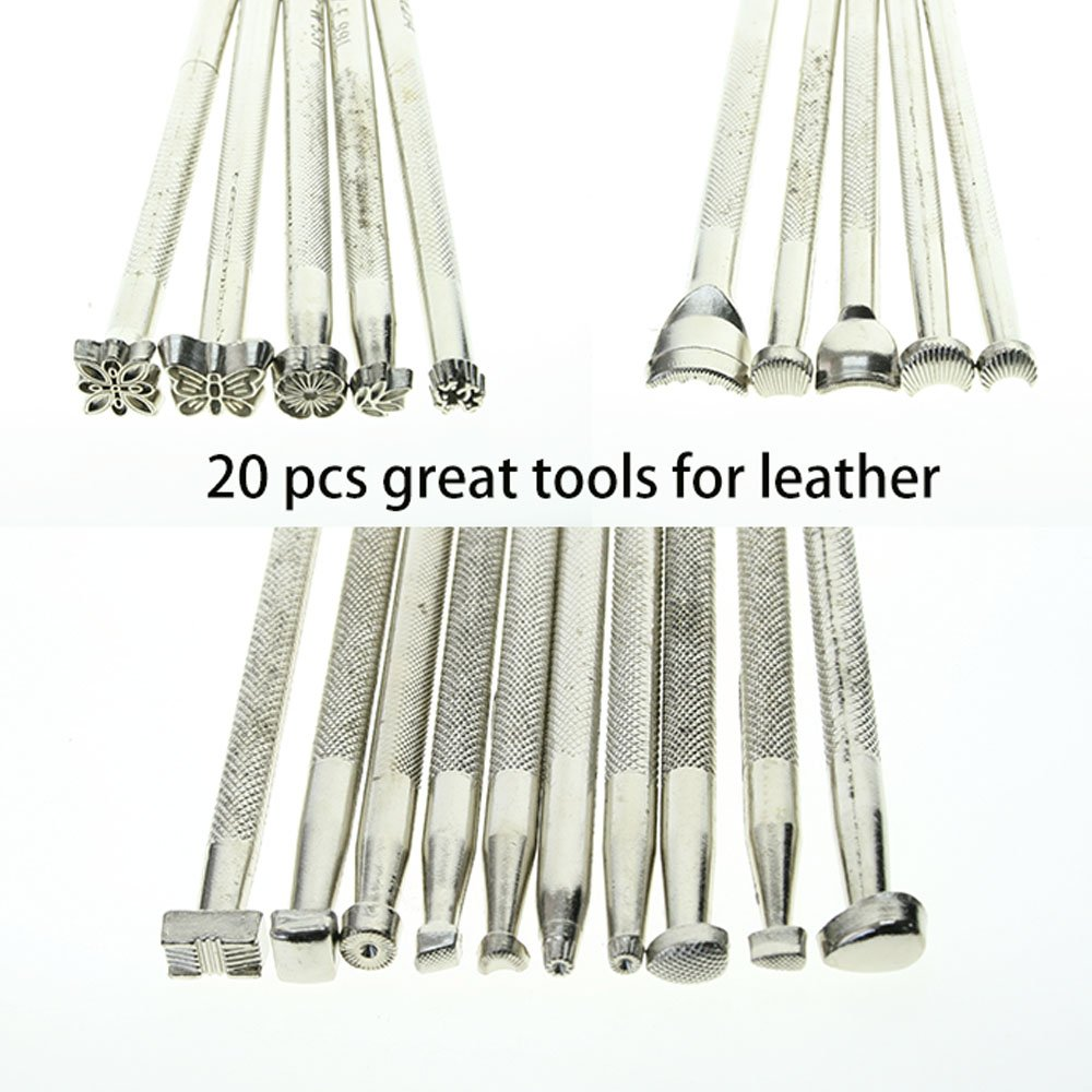 Silver 20pcs Leather Working Saddle Making Stamps Tools Set for Leathercraft Carving DIY Handmade Art