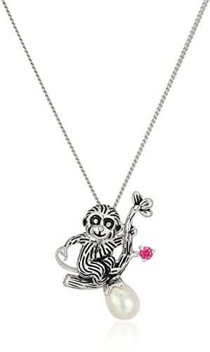 """Sterling Silver Freshwater Cultured Pearl Monkey Pendant Necklace, 18"""""""