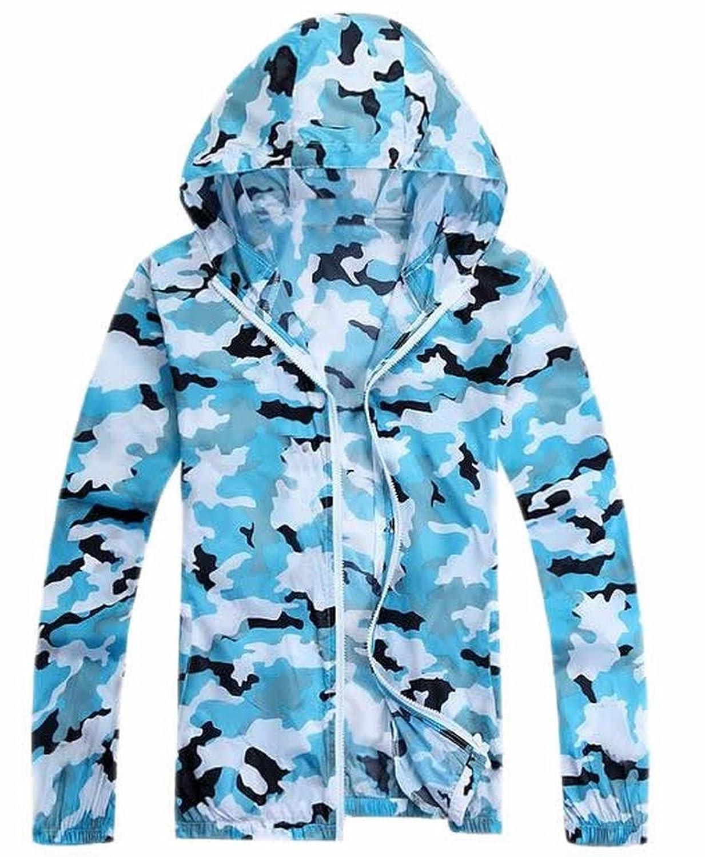 Vska Women Camo Sun Protection Transparent Beach Hooded Coats