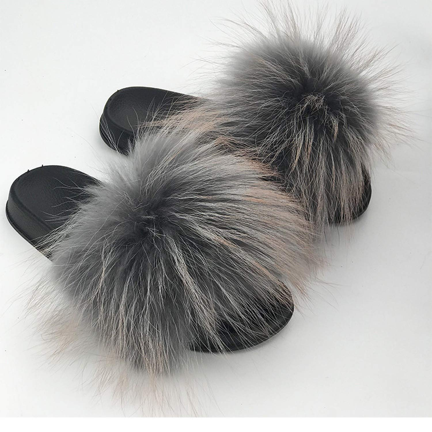 28 Colors Real Fur Slippers Women Fox Fluffy Sliders Comfort with Feathers Furry Summer Flats Sweet Ladies Shoes Plus Size 36-45,18,91