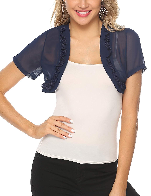 fbb47c576f5 Aibrou Womens Short Sleeve lace Bolero Shrugs for Dresses See Through Short  Cardigan for Women at Amazon Women's Clothing store: