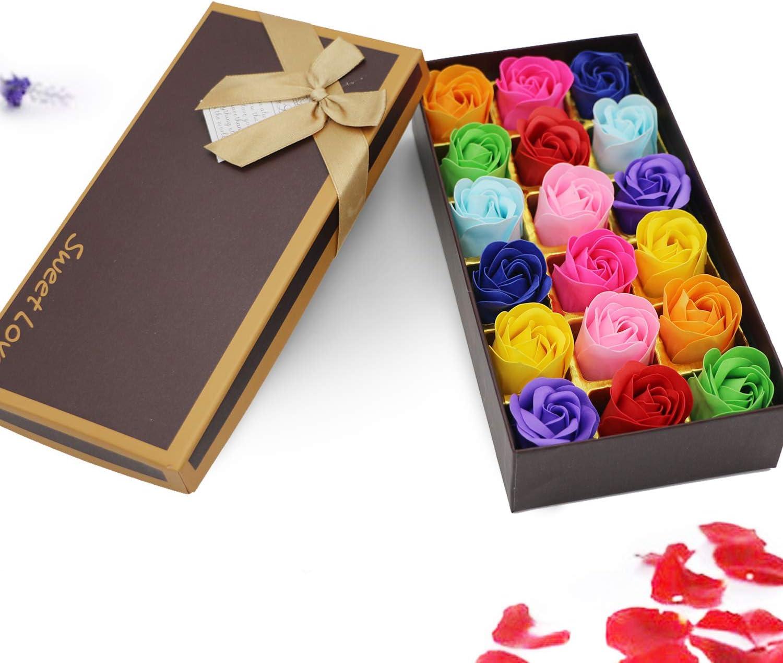 Floral Jabón de Baño Perfumado de Rosa Flores Hechas por la Naturaleza Aceite de Plantas para Navidad Día de San Valentín Día la Madre Día,18 Unids(Colorido)