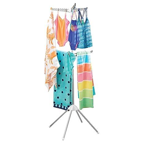 mDesign Tendedero plegable con 2 alturas – Tendedero vertical de metal con 6 brazos para colgar 54 perchas de ropa – Secador de ropa con 4 patas para ...