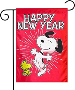 LYYTZ_id Snoopy Happy New Year 2019 Garden Flag Home Outdoor/Indoor Yard Flag 12 X 18 Inch