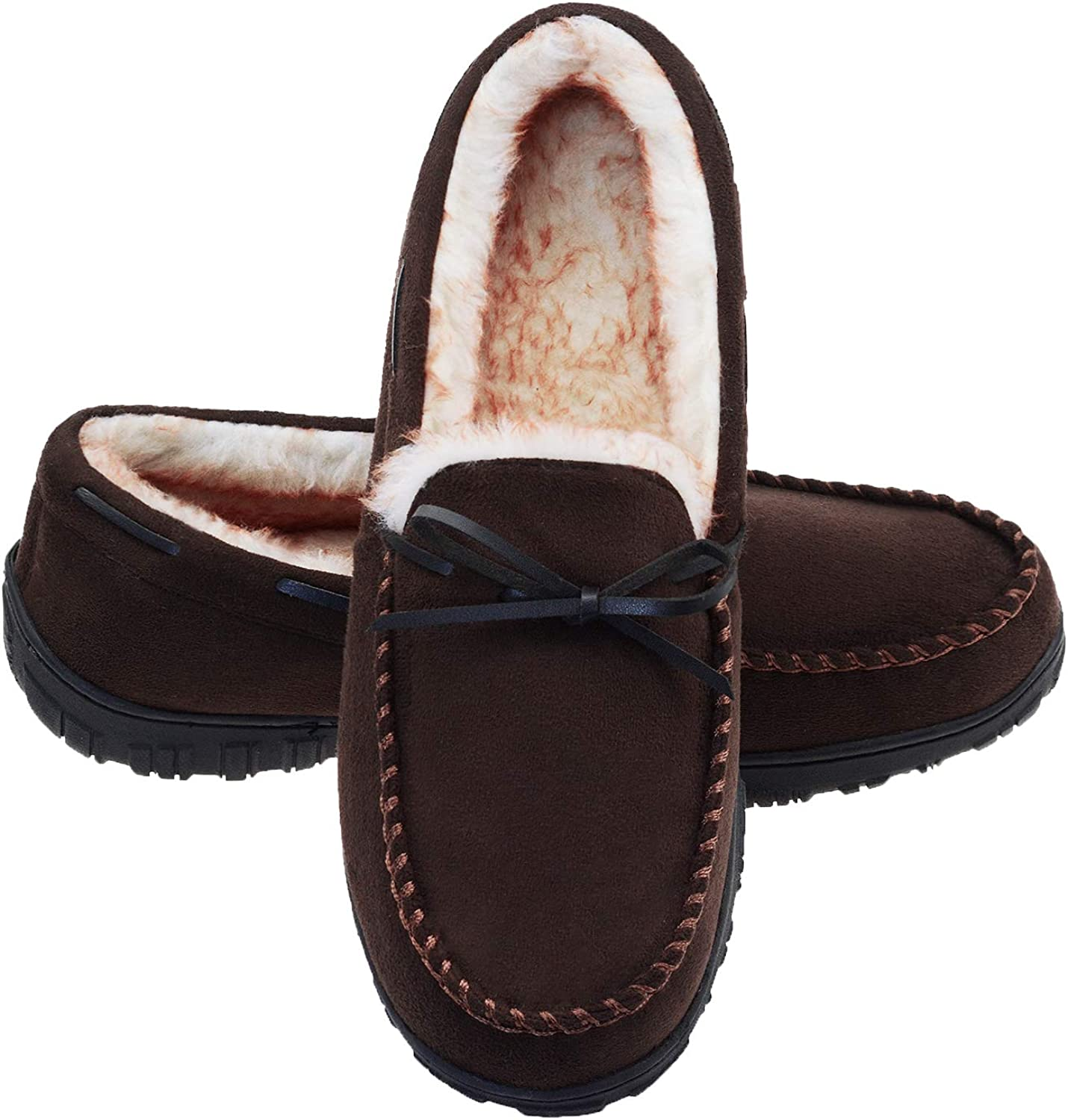 LA PLAGE Mens Slippers Moccasin for Men Indoor/Outdoor Plush Lining Microsuede Slip On House Shoes