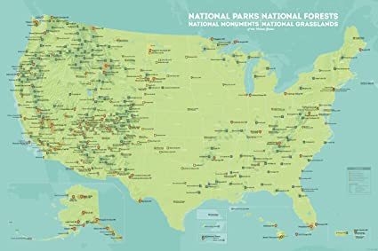 US National Parks, Monuments & Forests Map 24x36 Poster (Green & Aqua)